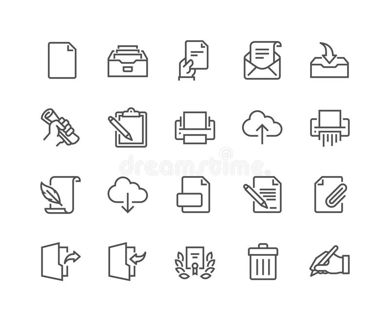 Line Document Icons stock illustration