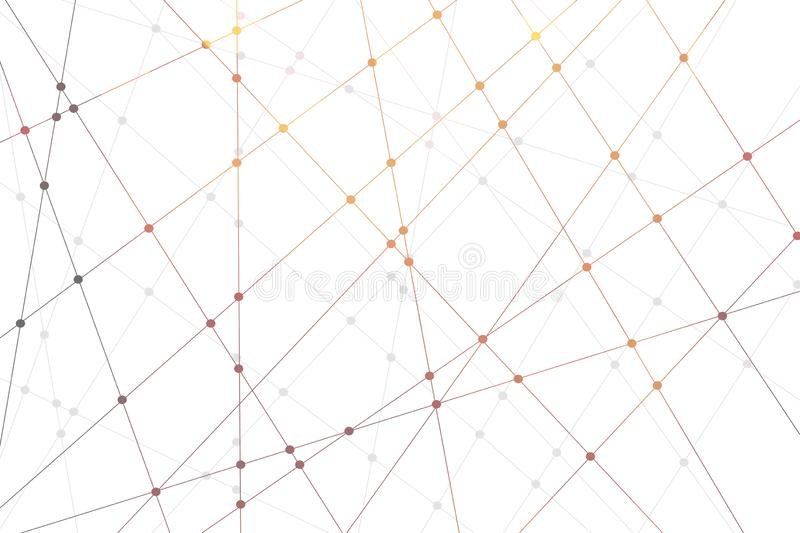 Line and dot pattern and bokeh background. Technology concept royalty free illustration