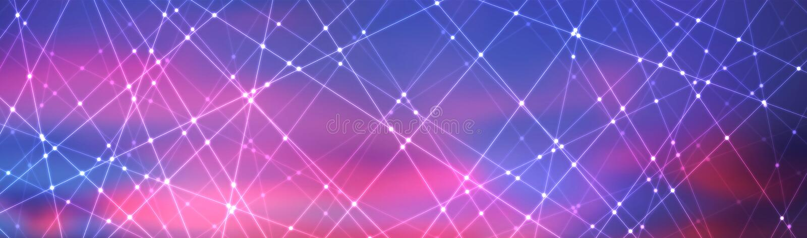 Line and dot pattern and colorful background. Technology concept stock illustration