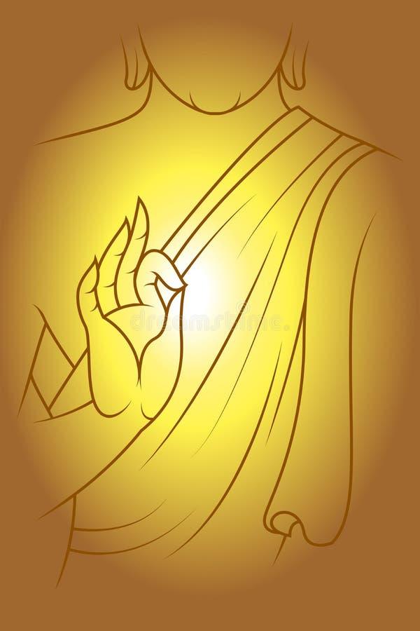 Line draw vector Meditation Buddha royalty free illustration