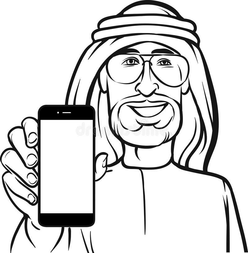 Line Drawing App : Line drawing of a arab man showing mobile app on smart