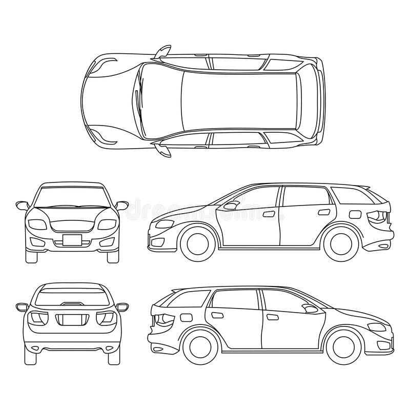 Line Drawing In Computer Graphics : Line drawing of car white vehicle vector computer art