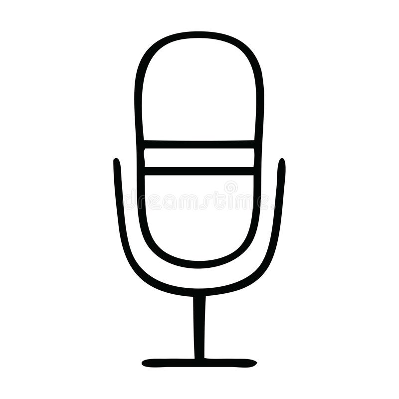 Line drawing cartoon radio microphone. A creative illustrated line drawing cartoon radio microphone vector illustration