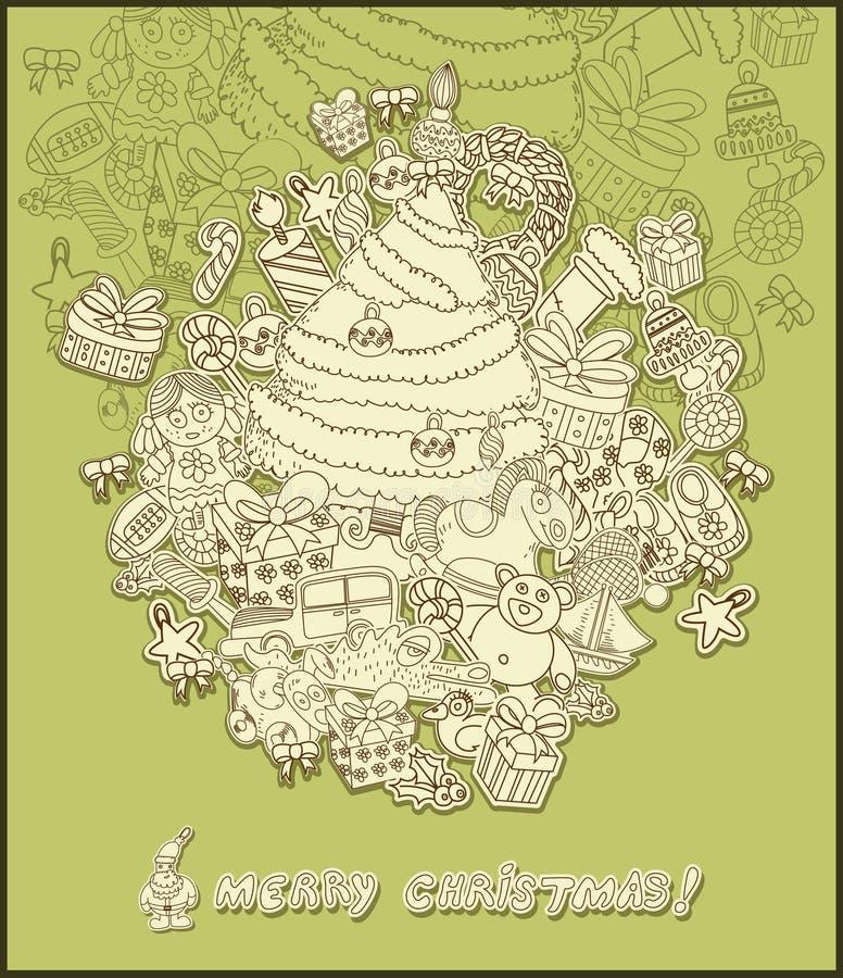 Download Line Drawing Christmas Theme- Green Stock Vector - Image: 11845436