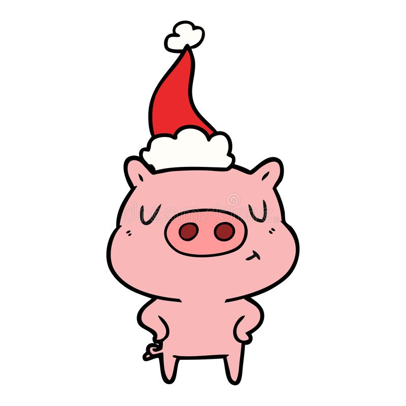 Line drawing of a content pig wearing santa hat. A creative illustrated line drawing of a content pig wearing santa hat royalty free illustration