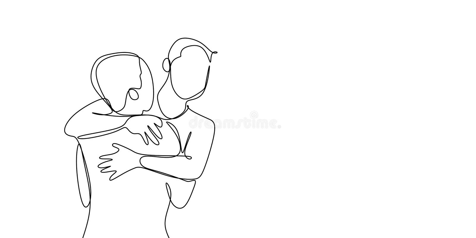 A line drawing continues to someone who has succeeded with his dream. Enjoying life celebration friends people cheerful positive team full length art feelings stock illustration
