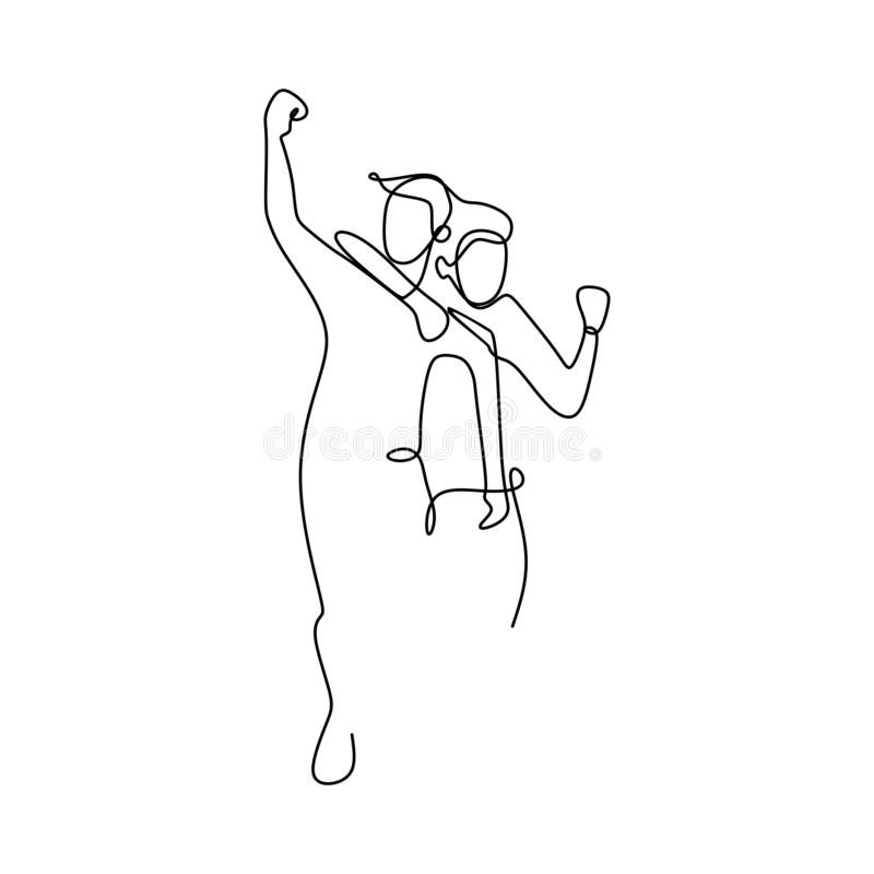 A line drawing continues to someone who has succeeded with his dream. Enjoying life celebration friends people cheerful positive team full length art feelings royalty free illustration