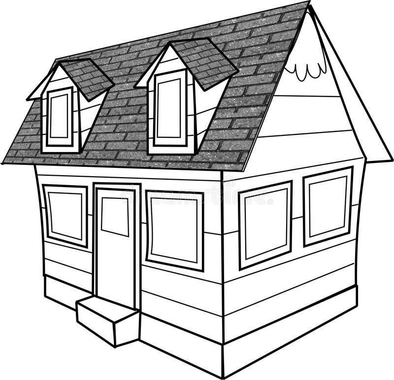 Download Line drawing of a cottage stock vector. Image of gables - 44823