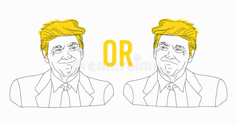 Line drawing of Donald Trump portrait, sketch, tin line, joyful and sad. Vector illustration, isolated on a white stock illustration