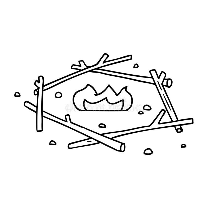 Line drawing doodle of a camp fire. A creative illustrated line drawing doodle of a camp fire stock illustration