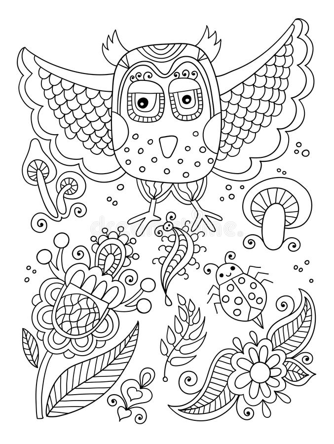 line drawing of forest elements - owl, flowers, mushrooms, berries, insect, ladybird royalty free illustration