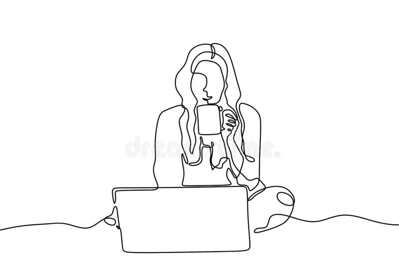 Line drawing of girl with laptop and drinking a coffee continuous one hand drawn single lineart design. She home freelancer vector illustration