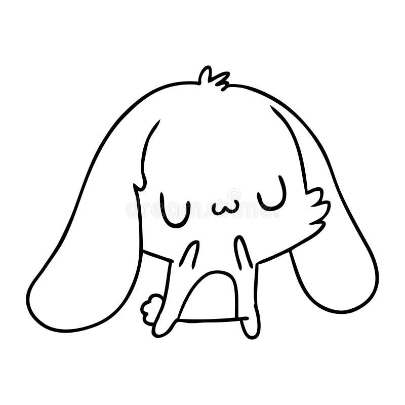 Line Drawing Kawaii Cute Furry Bunny Stock Vector Illustration