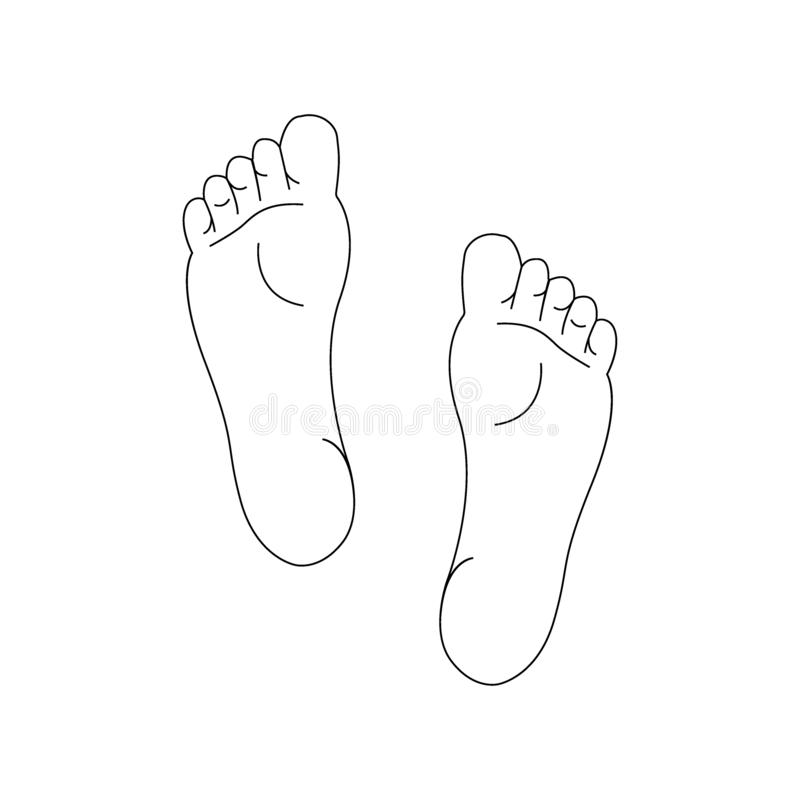 Line drawing of the left and right foot soles vector illustration
