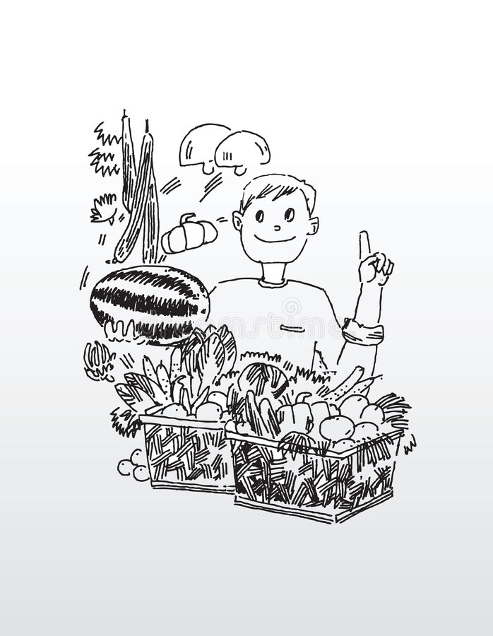 Line Drawing of Man with Fruit royalty free illustration