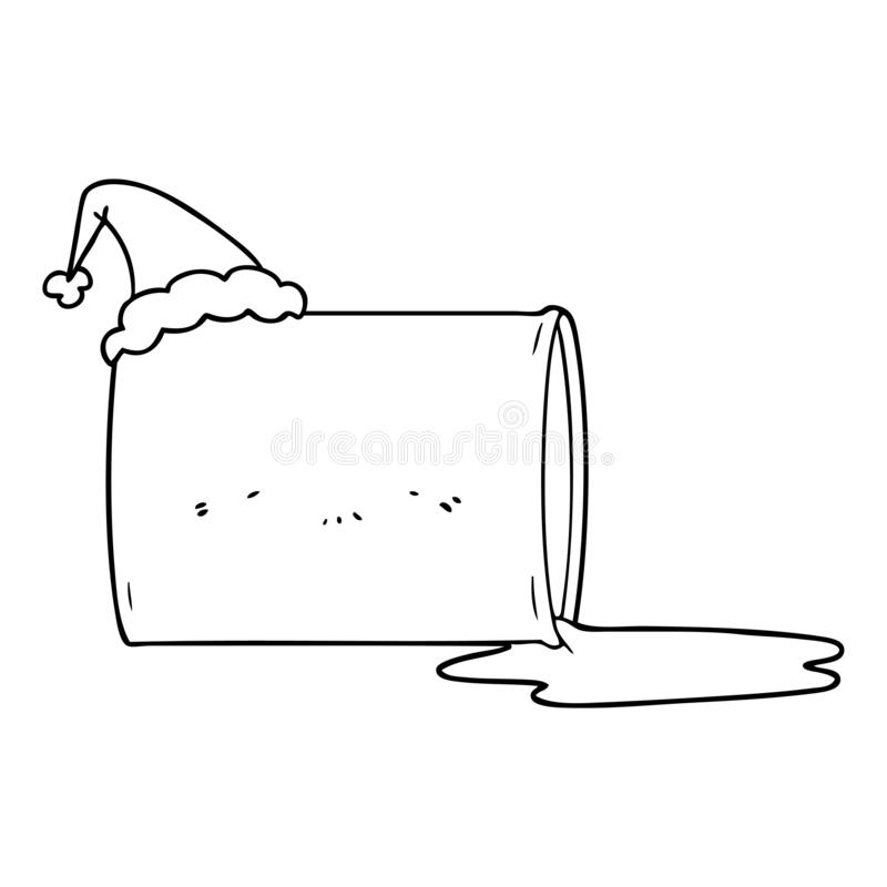 Line drawing of a oil drum wearing santa hat. A creative illustrated line drawing of a oil drum wearing santa hat stock illustration