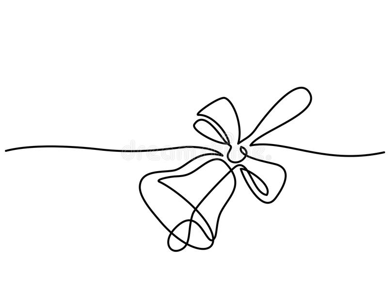 Line drawing. School traditional bell and ribbon stock illustration