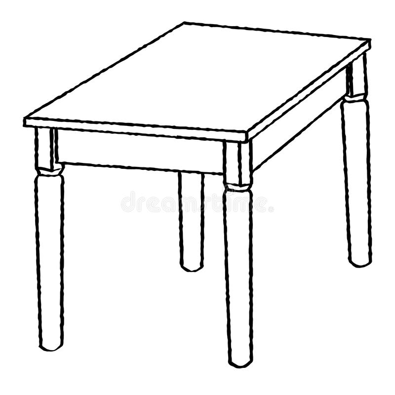 line drawing of table