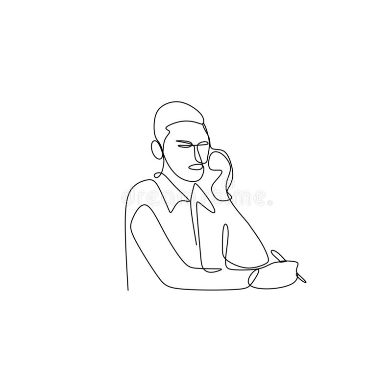 Line drawings continuously receive calls while working. Minimalism illustration worker computer phone vector business hand office single communication lines stock illustration