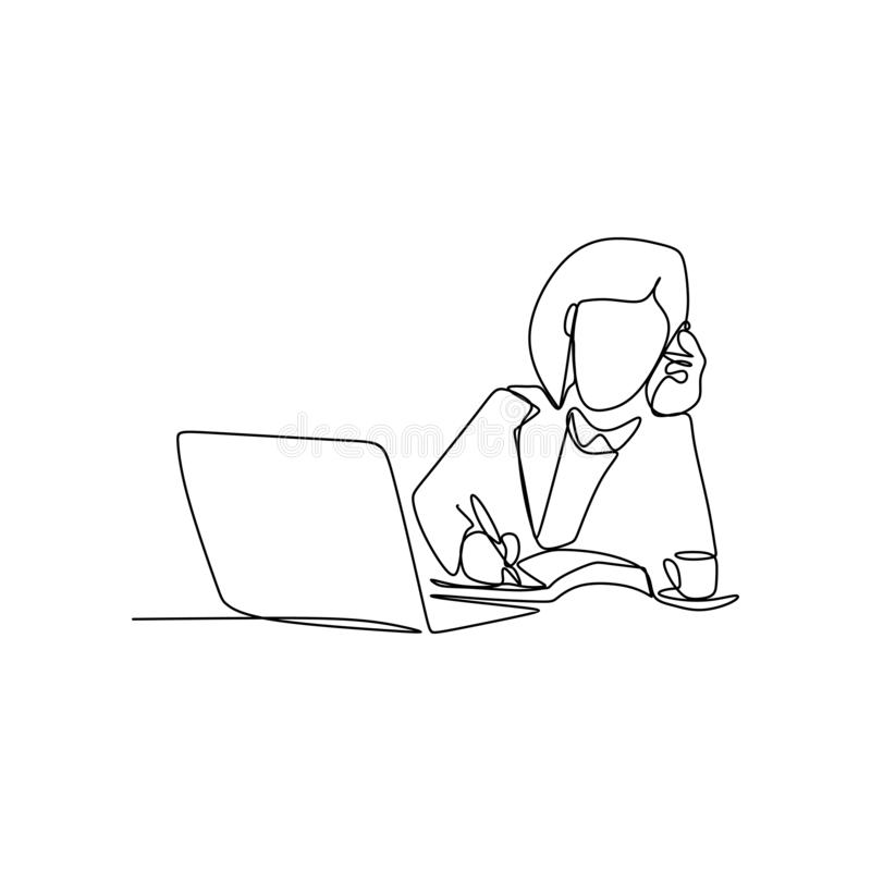 Line drawings continuously receive calls while working. Minimalism illustration worker computer phone vector business hand office single communication lines vector illustration