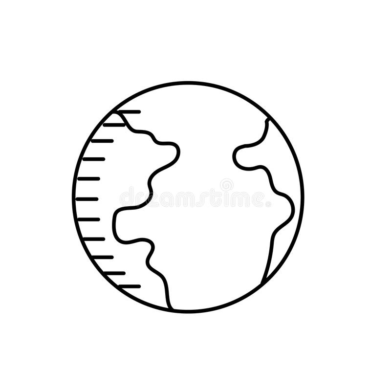 Line earth planet with geography ocean map royalty free illustration