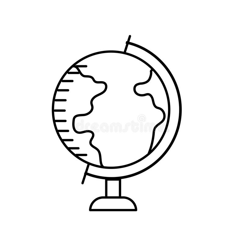 Line earth planet global map of desk stock illustration
