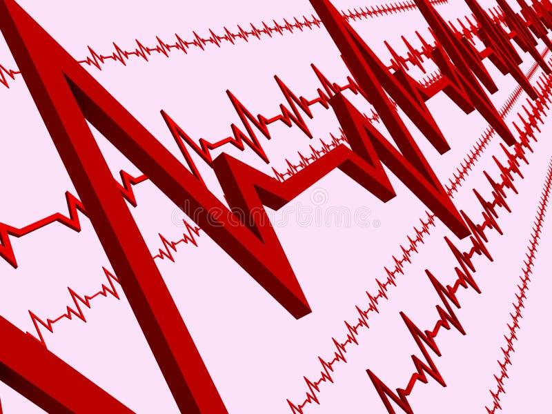 Line ECG heart. Few lines of ECG hearts stock illustration