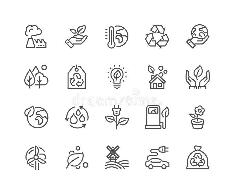 Line Eco Icons stock illustration