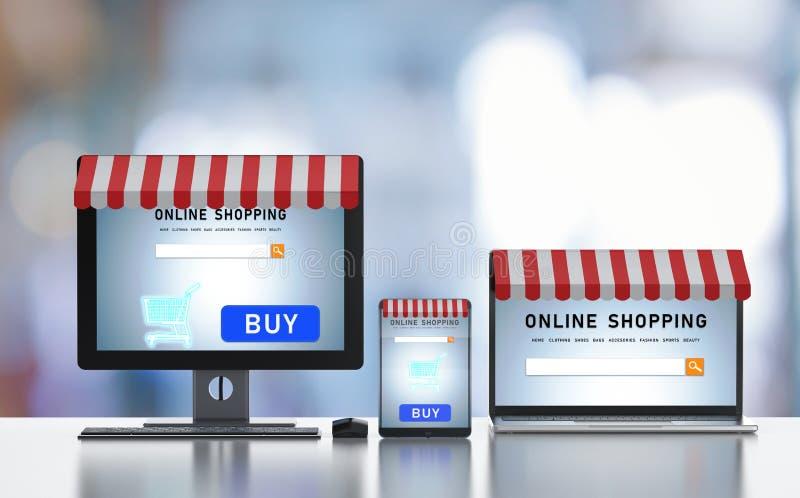 On-line-Einkaufen auf digitalem Gerät lizenzfreie abbildung