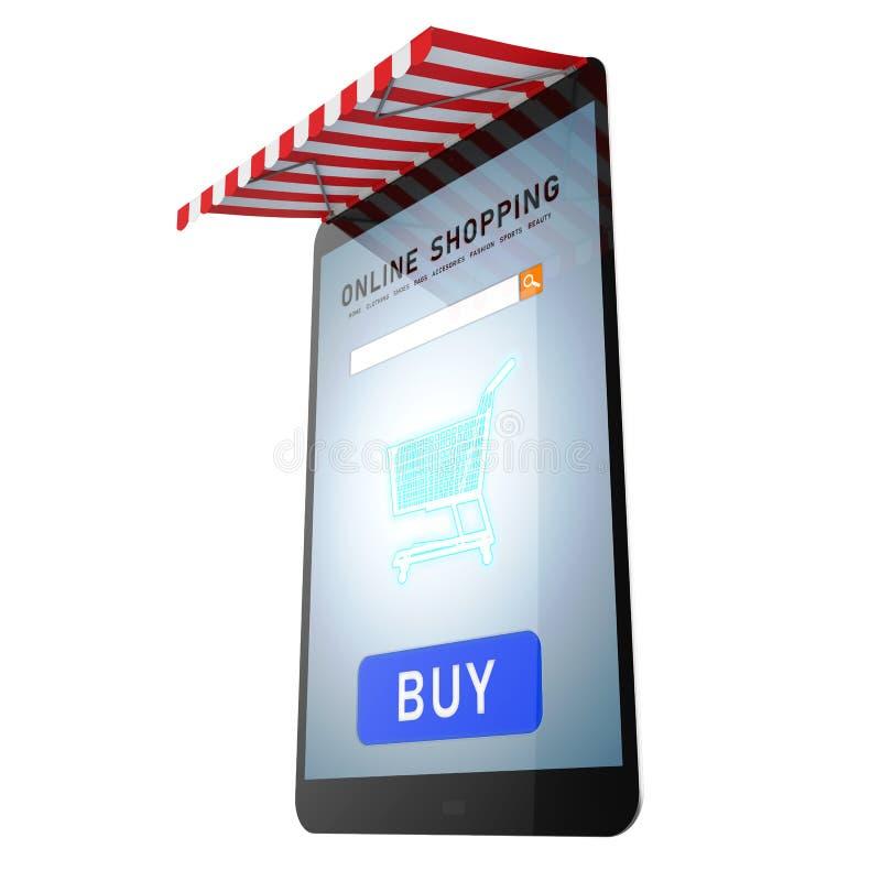 On-line-Einkaufen auf Tablette stock abbildung