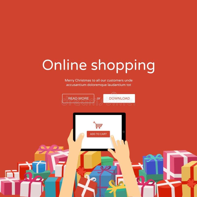 On-line-Einkaufen auf Tablette - Weihnachtsgeschenke stock abbildung