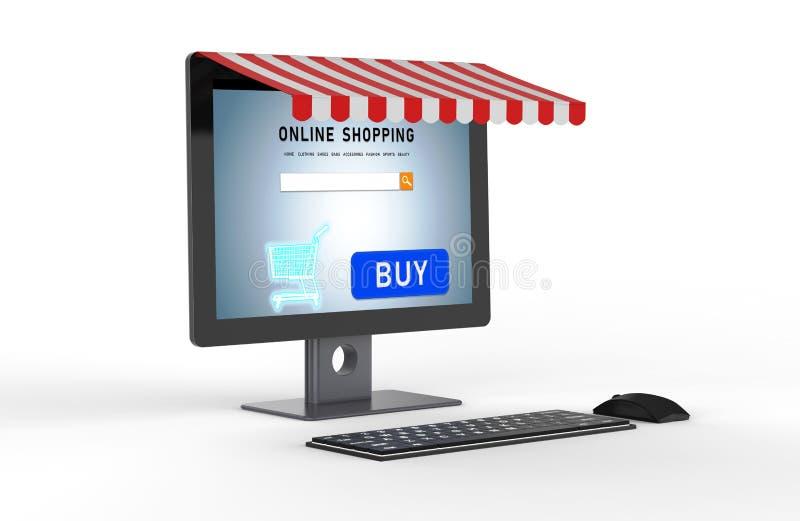 On-line-Einkaufen auf Tischrechner lizenzfreie abbildung