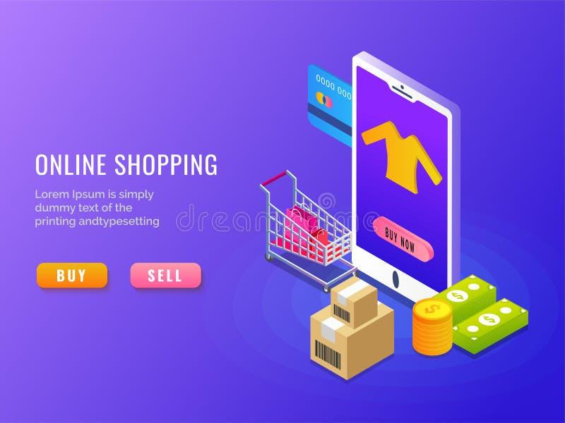 On-line-Einkaufen, isometrisches Konzept, bewegliche APP oder Landungsseite d stock abbildung