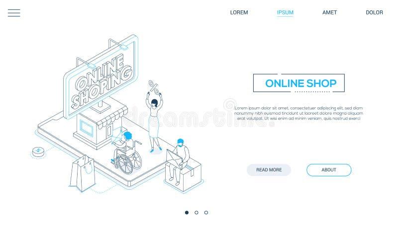 On-line-Einkaufen - Linie isometrische Netzfahne der Entwurfsart stock abbildung