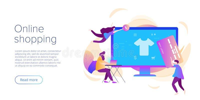 On-line-Einkaufen oder flache Vektorillustration des E-Commerce Internet-Speicher checkput Verfahrenskonzept mit Smartphone und T stock abbildung