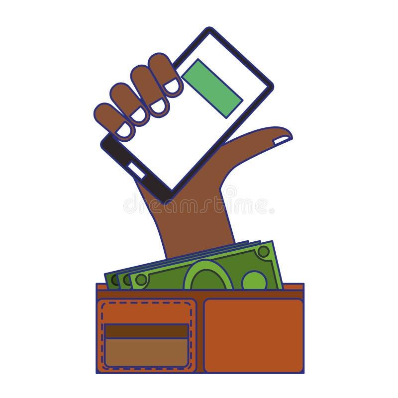 On-line-Einkaufen und blaue Linien der Verkaufssymbole lizenzfreie abbildung
