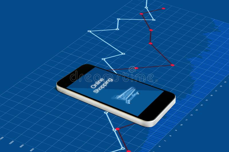 On-line-Einkaufen und Investition im on-line-Einzelhandelsgeschäftgeschäft Intelligentes Mobiltelefon mit dem Anheben des Diagram lizenzfreie abbildung