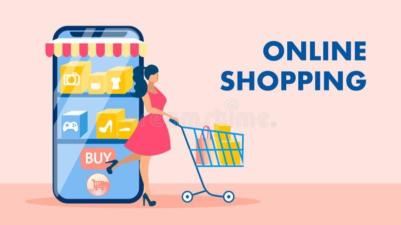 On-line-Einkaufen, Vektor-Fahnen-Konzept des elektronischen Geschäftsverkehrs vektor abbildung