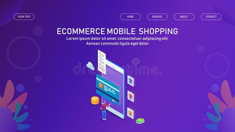 On-line-Einkaufen von einer beweglichen Anwendung, ecvommerce digitalen einem App, von einem Marketing und von einem Kundenzurück lizenzfreie abbildung