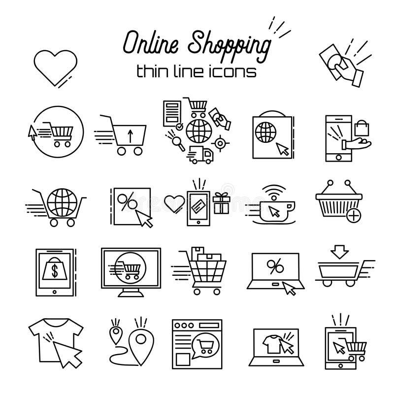 On-line-Einkaufenvektor-Linie Ikonen Dünner Rabatt Ikone des E-Commerce-Piktogrammsymbolentwurfs, Warenkorb, Shop, Verkauf lizenzfreie abbildung