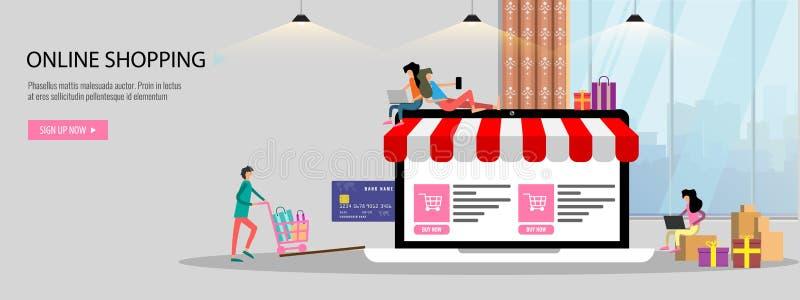 On-line-Einkaufs- oder Online-Shop-Konzept Landungsseitenschablone oder -fahne mit gro?er Laptopkreditkarte der kleinen Leute fla lizenzfreie abbildung