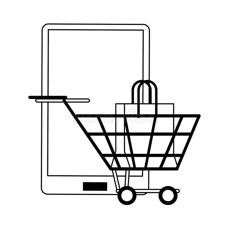 On-line-Einkaufs- und Verkaufssymbole in Schwarzweiss vektor abbildung