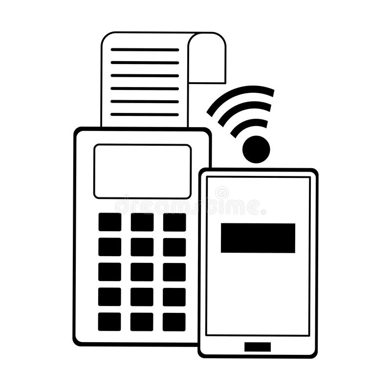 On-line-Einkaufs- und Verkaufssymbole in Schwarzweiss lizenzfreie abbildung
