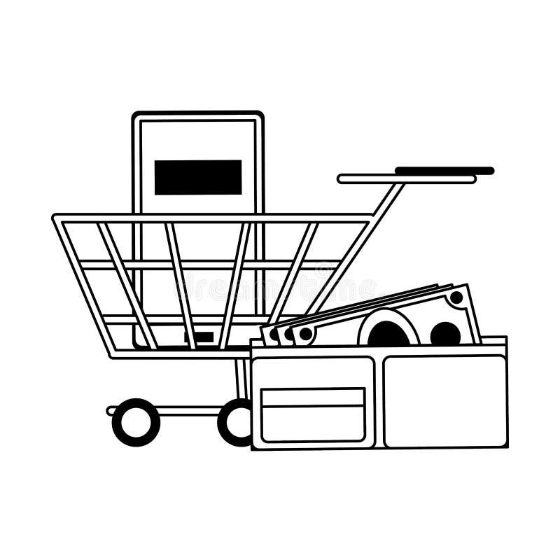 On-line-Einkaufs- und Verkaufssymbole in Schwarzweiss stock abbildung