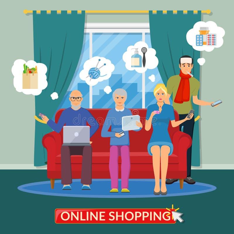 On-line-Einkaufsflache Zusammensetzung stock abbildung