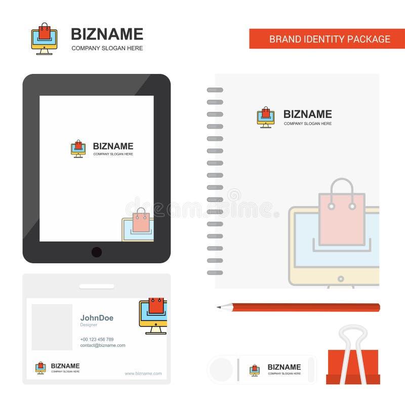 On-line-Einkaufsgeschäfts-Logo, Tab App, Tagebuch PVC-Angestellt-Karte und USB-Marken-stationäre Verpackungsgestaltungs-Vektor-Sc vektor abbildung