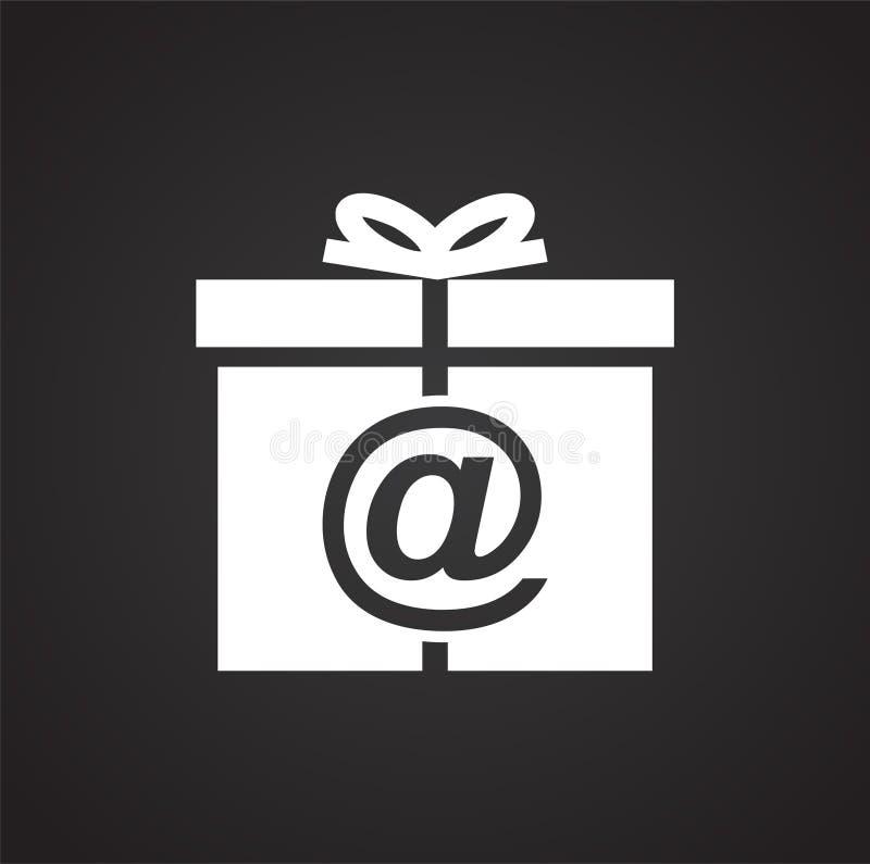 On-line-Einkaufsgeschenkikone auf schwarzem Hintergrund für Grafik und Webdesign, modernes einfaches Vektorzeichen Hintergrund de lizenzfreie abbildung