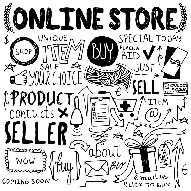 On-line-Einkaufshand gezeichnete Gekritzel vektor abbildung