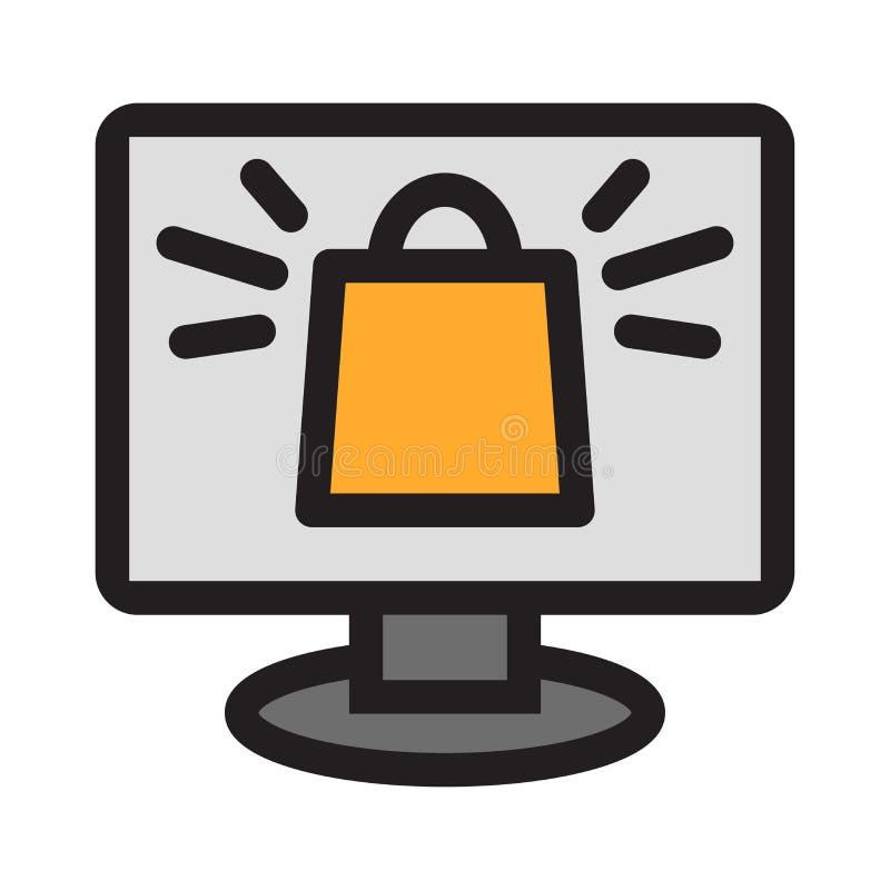 On-line-Einkaufsikone auf weißem Hintergrund lizenzfreie abbildung