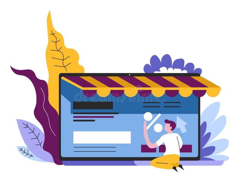 On-line-Einkaufsinternet-Speicherseite auf Bildschirm oder Tablette stock abbildung